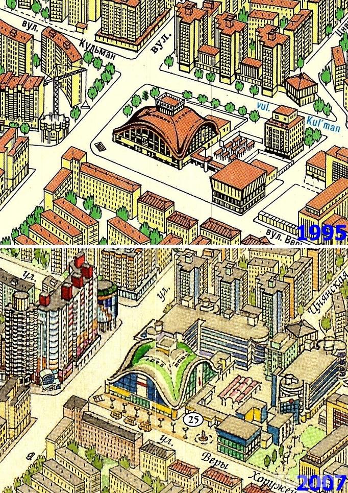 Район «Комаровки» за двадцать лет изменился радикально. Достроили дом-«кукурузу» на углу улиц Веры Хоружей и Кульман, снесли сотни киосков возле Дома мебели, возвели новый жилой дом и несколько торговых центров с паркингами