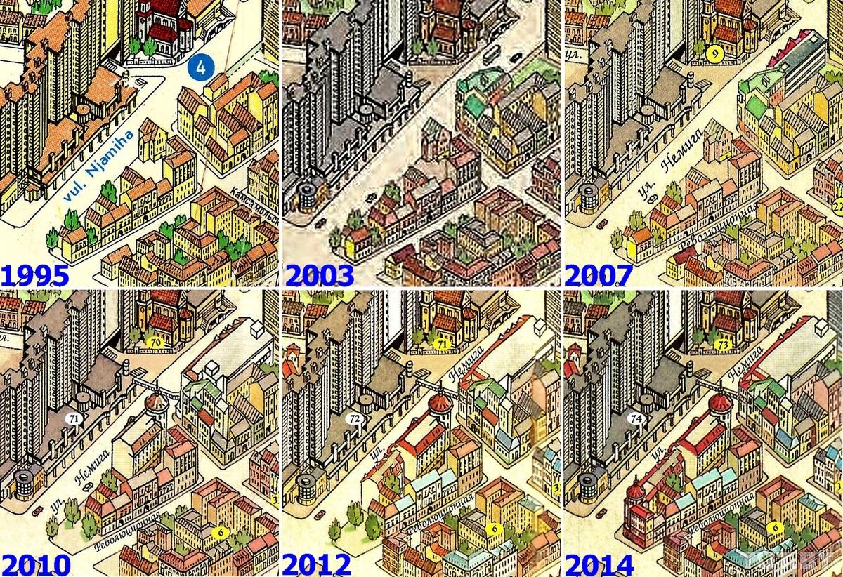 Застройка квартала в стыке улиц Немига и Революционная растянулась на много лет. На фрагментах панорамы можно видеть этапы сноса старинных зданий и возведения новоделов на их месте