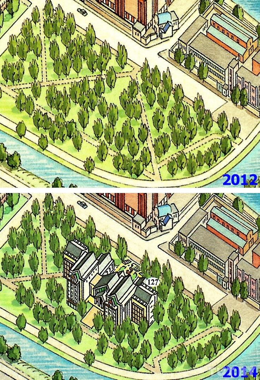В Парке 40 лет Октября, несмотря на протесты общественности, вырубили немало деревьев и построили гостиницу «Пекин»