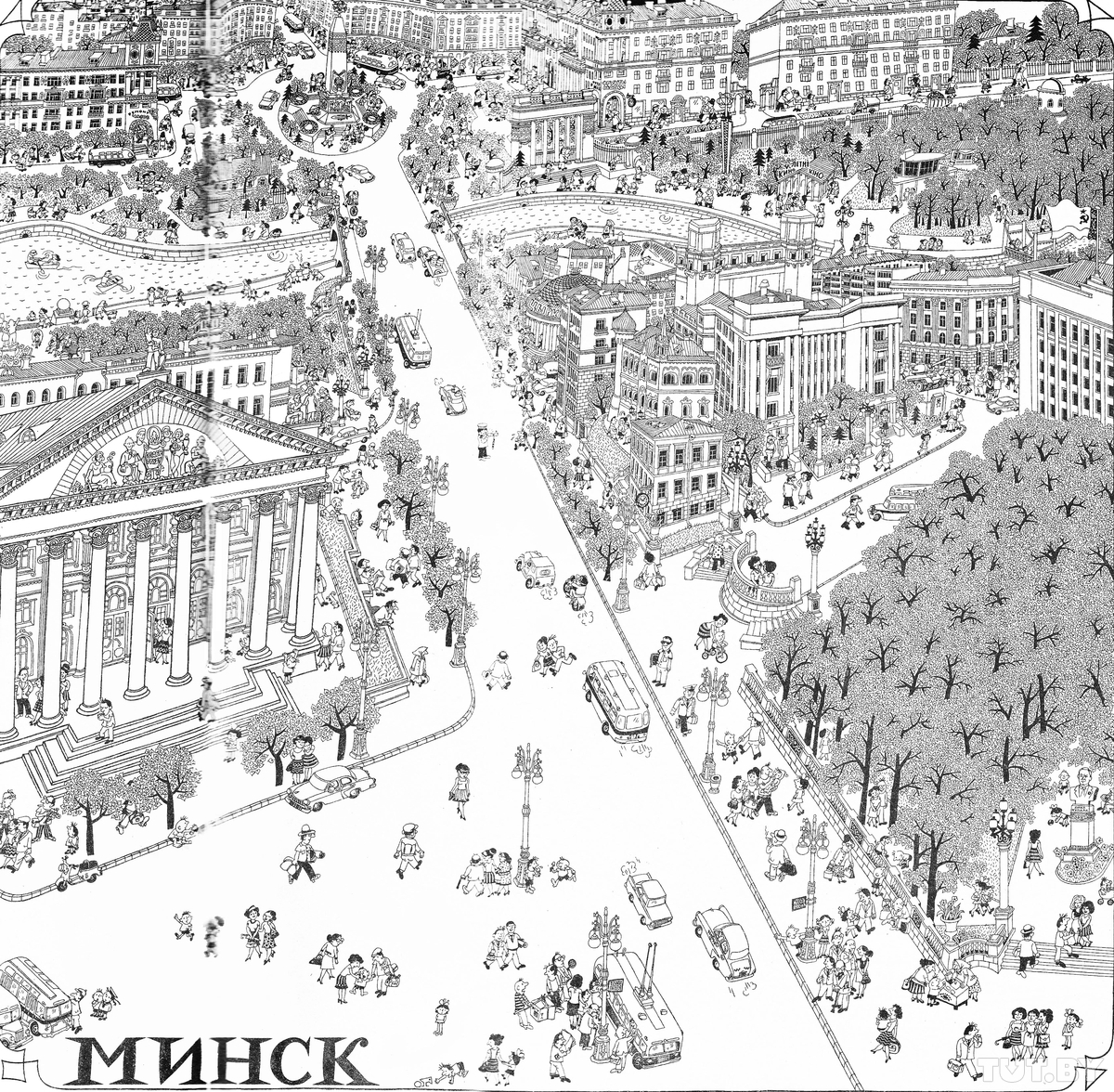 Рисунок центра Минска из журнала «Крокодил» (№15'1967). На журнальной странице можно разглядеть, что кафе на площади Победы называется «Берозка»
