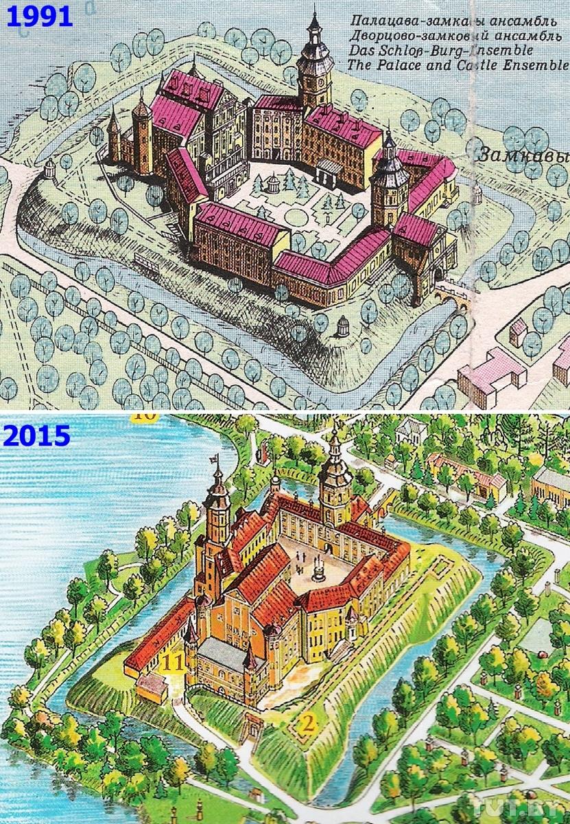 Несвижский дворец на самой первой (1991) и самой свежей (2015) панораме Атояна. На старой башне еще можно заметить часы