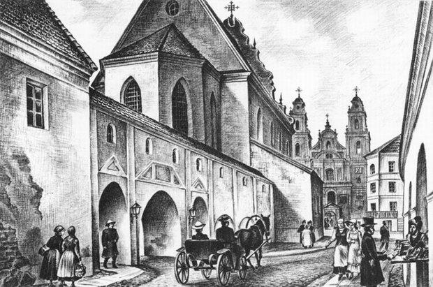 Вид на Мариинский костел со стороны базилианского монастыря. Реконструкция В. Стащенюка.